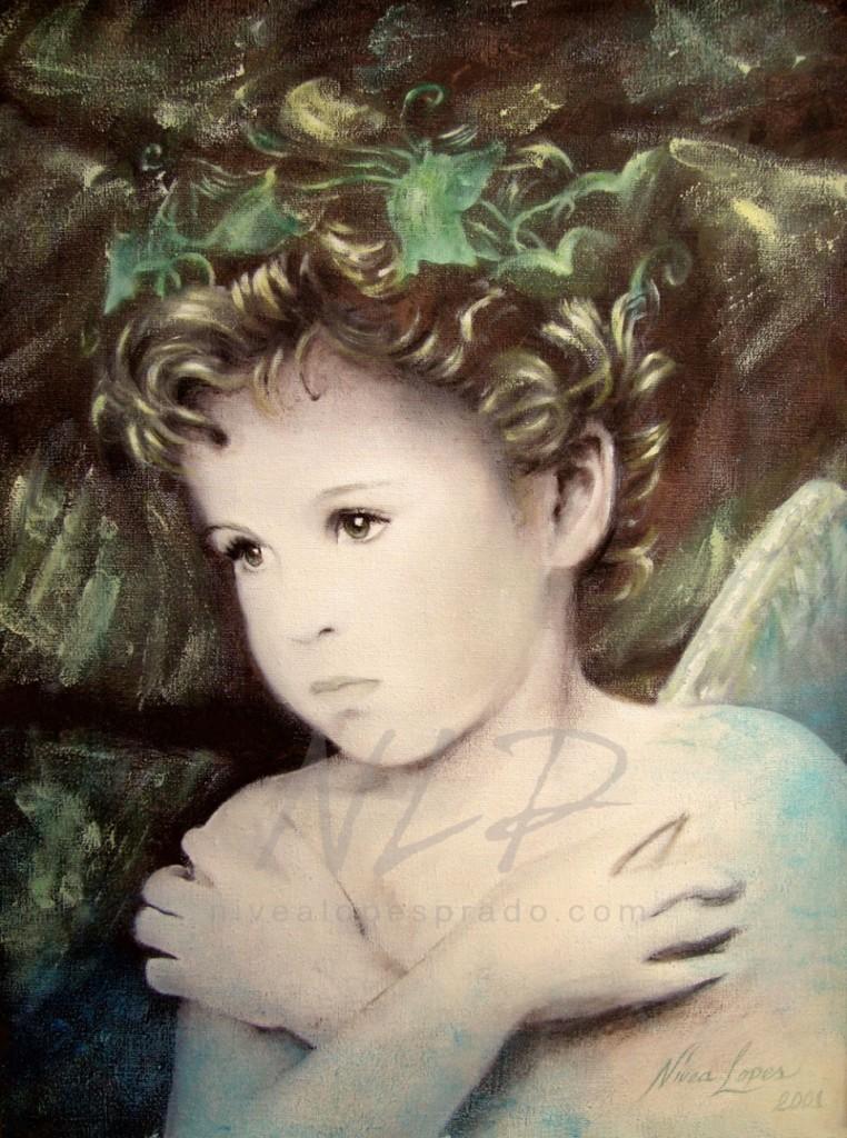 Anjo menino com coroa de eras